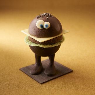 Burger en chocolat de face